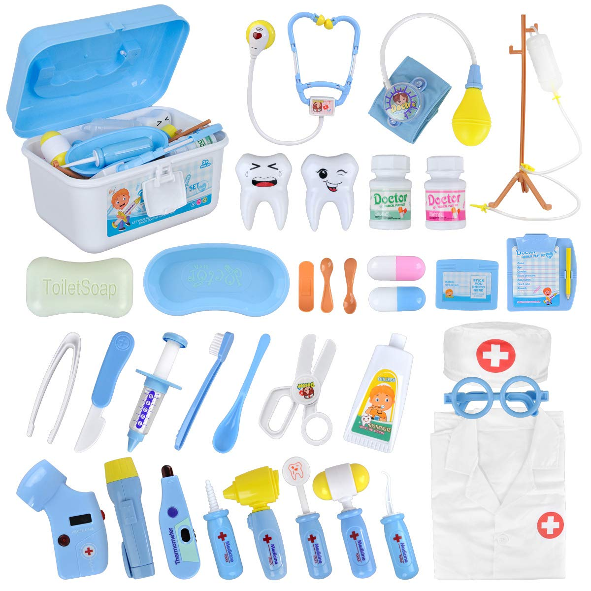 35 Piece Doctors Kit Toy Medical Playset