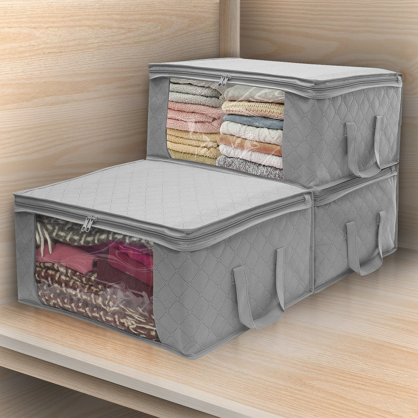 HomeFX Foldable Storage Bag Organizers - 3 Piece | Monthly Madness