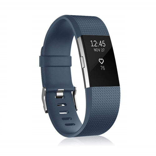 Linxure Silicone Replacement Strap for the Fitbit Charge 2 - Black - Large