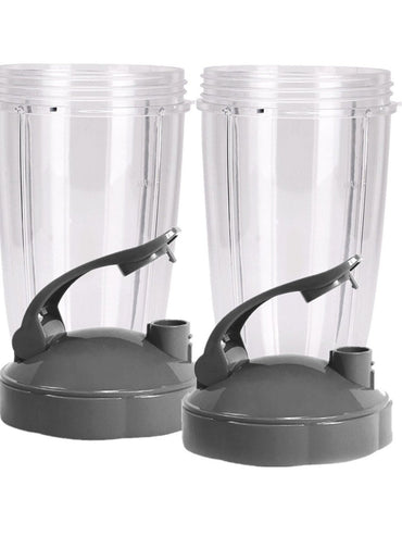 KitchenFX Nutribullet Replacement Cups with Lids - Set of 2