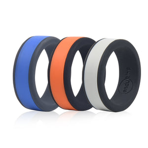 Enduring Mid Colour Silicone Wedding Ring Set of 3 | Monthly Madness