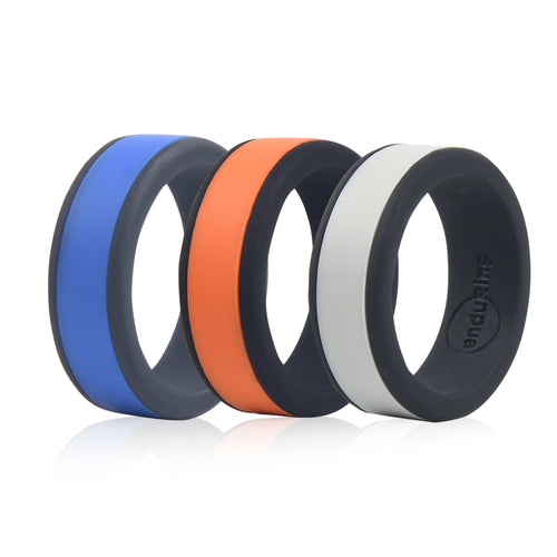 Enduring Mid Colour Silicone Wedding Ring Set of 3