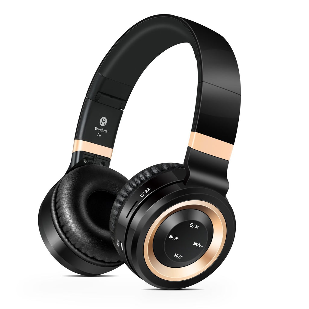 Sound Intone P6 Stereo Foldable Bluetooth Headphones with Microphone - Gold | Monthly Madness