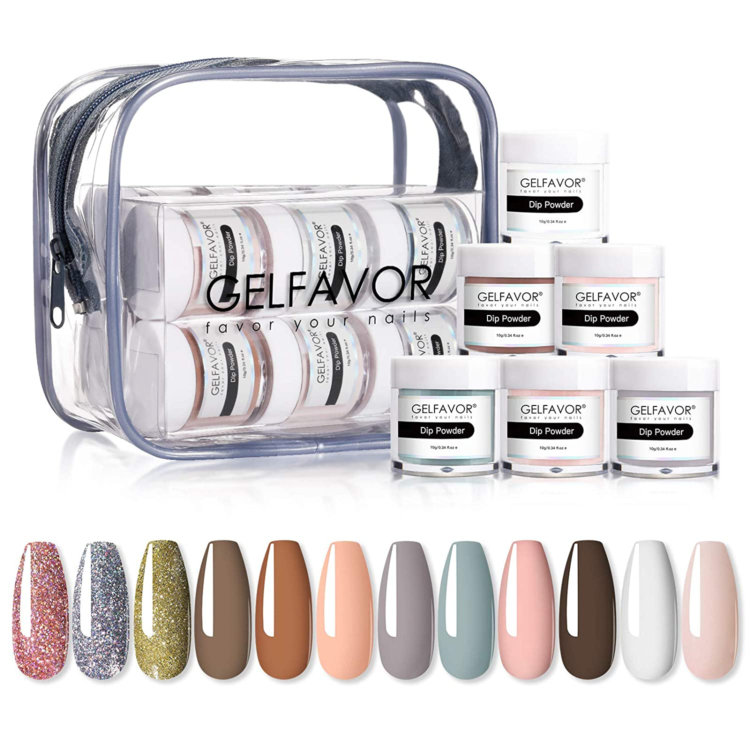 GELFAVOR Acrylic Nail Polish Powder Dip Set – Nude