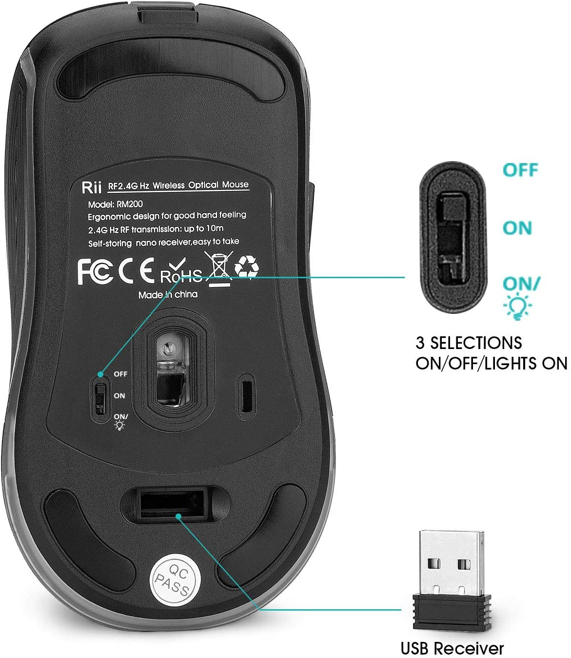 Rii RM200 Rechargeable RGB Wireless Mouse