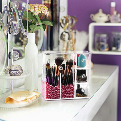 Styleberry Makeup Brush Holder With Pink Pearls