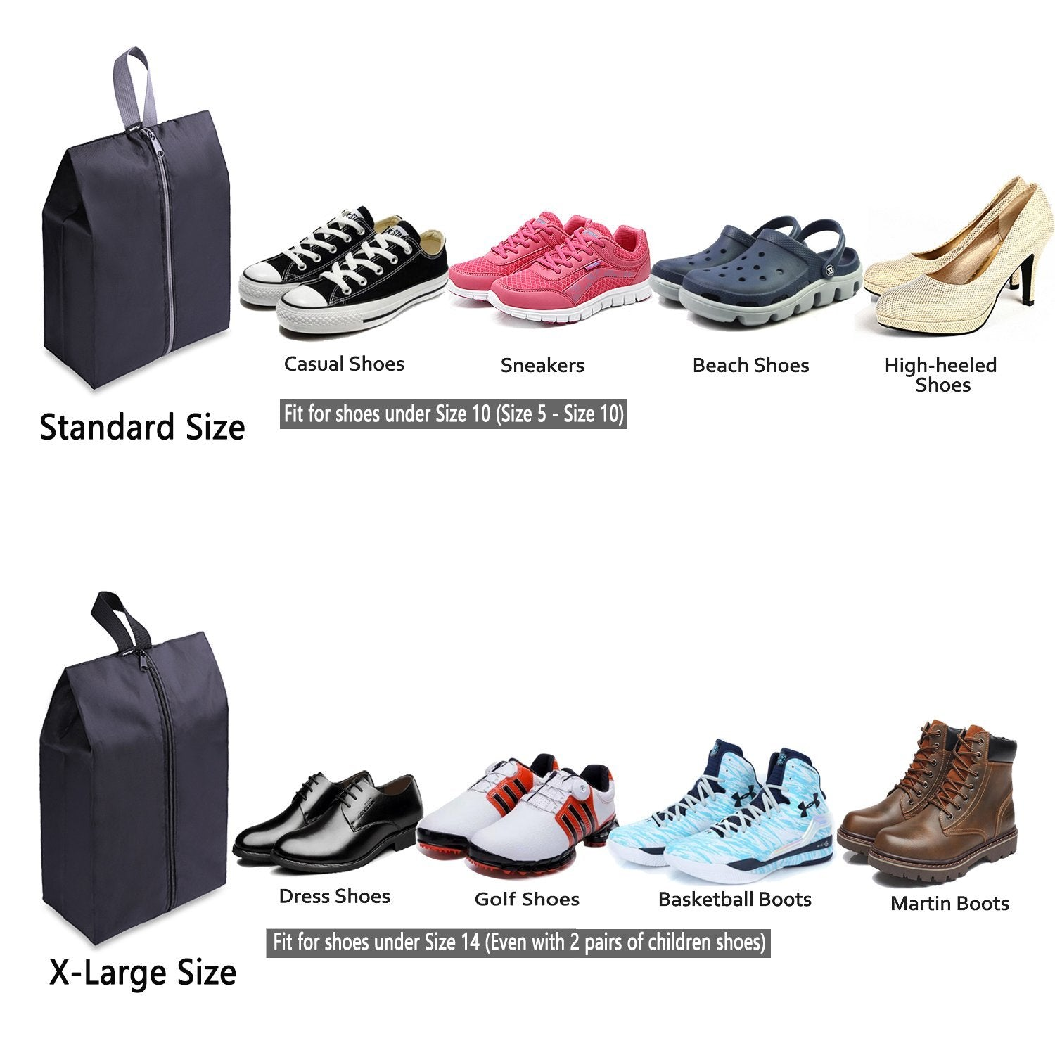 Travel Waterproof Shoe Bag With Zipper- Set of 4 | Monthly Madness