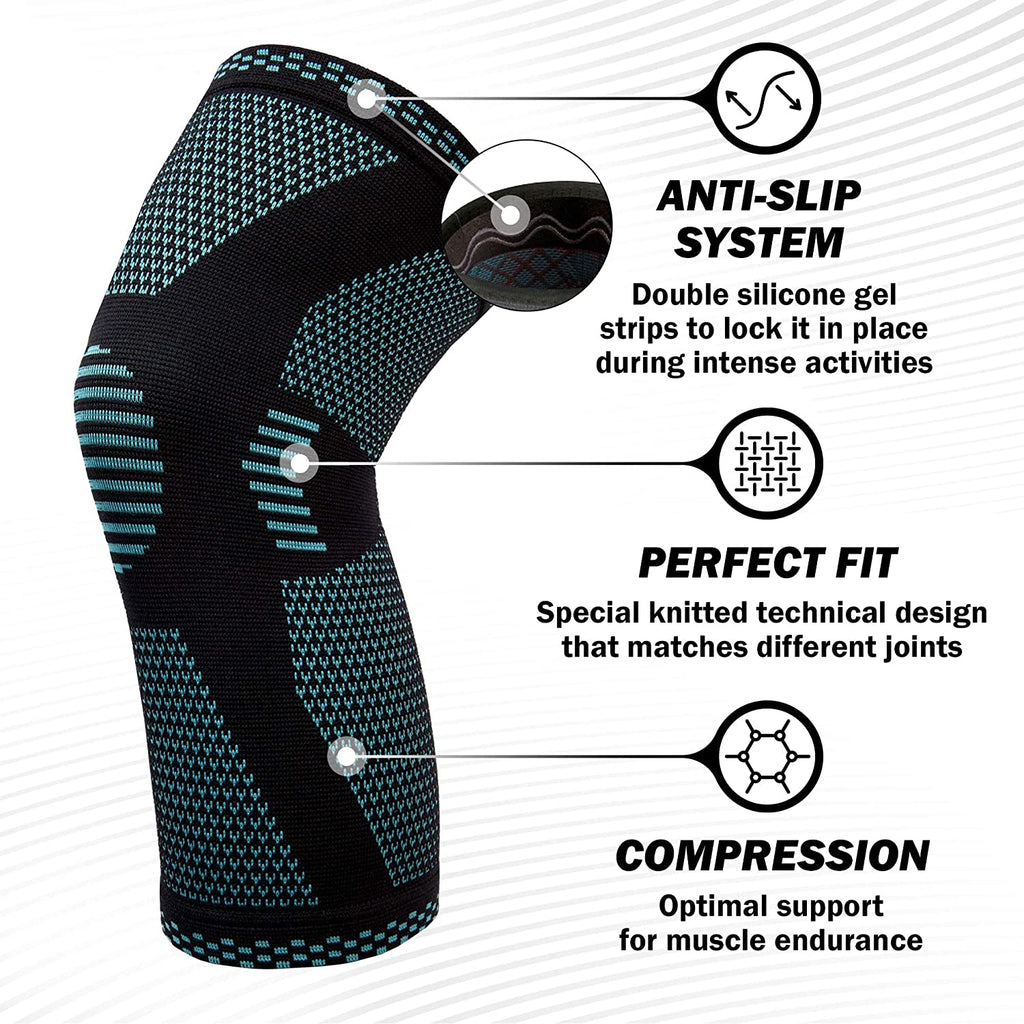 Athleum Sports Knee Support Compression Sleeve - Blue