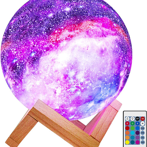 Lumina Remote and Touch Control Galaxy Moon Lamp
