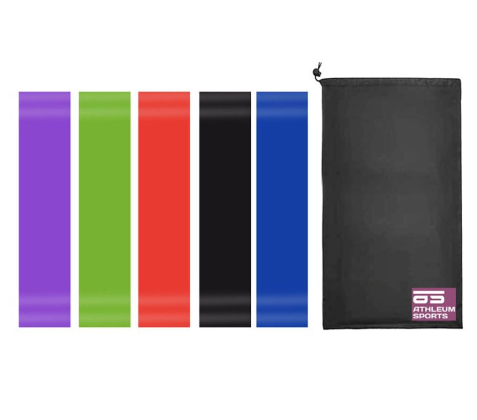 Athleum Sports Resistance Exercise Loop Bands - 5 Set with Carry Bag