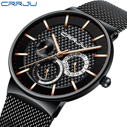 CRRJU 2153 Mens Milanese Mesh Watch - Black and Gold
