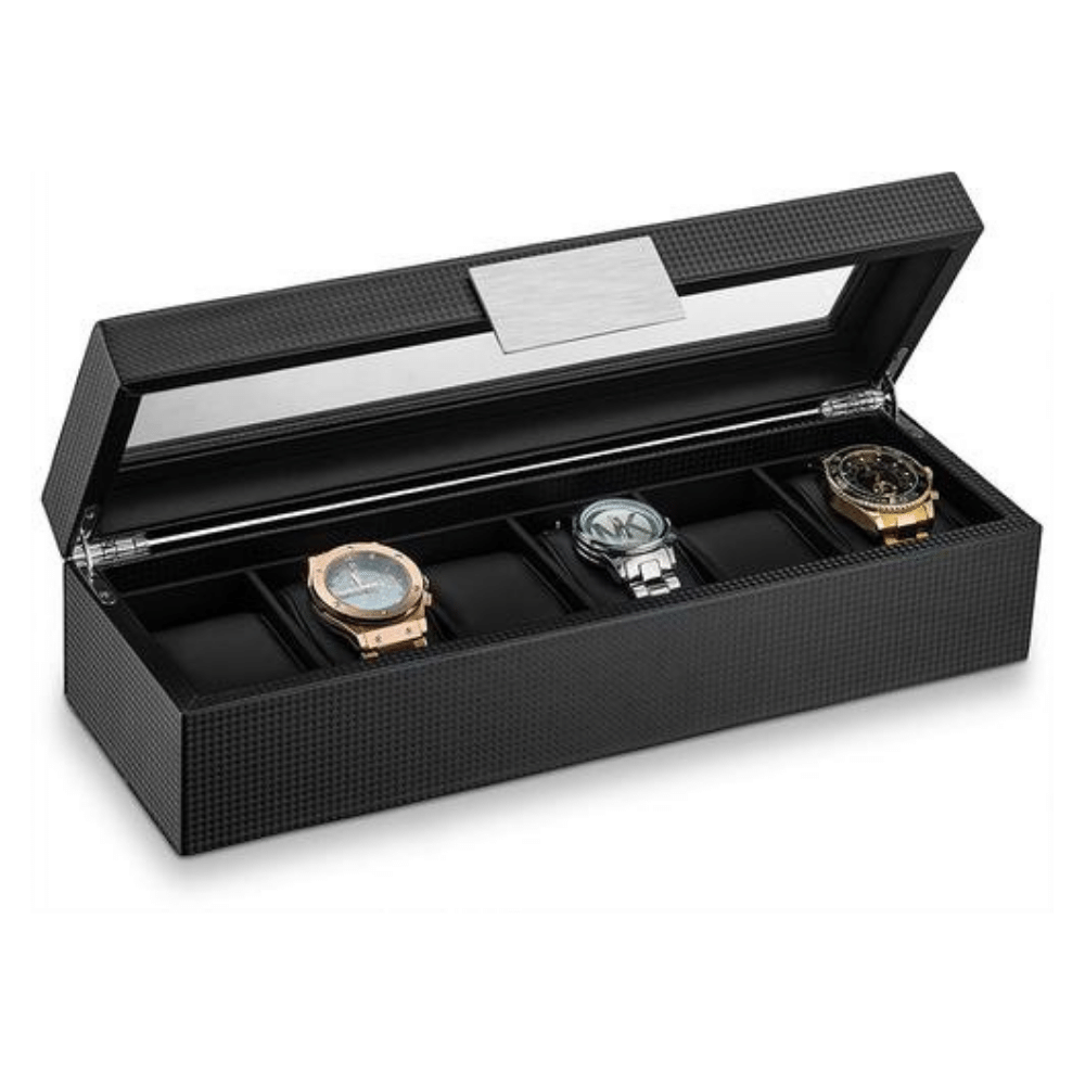 Triton Luxury Carbon Fibre 6 Slot Luxury Watch Organiser