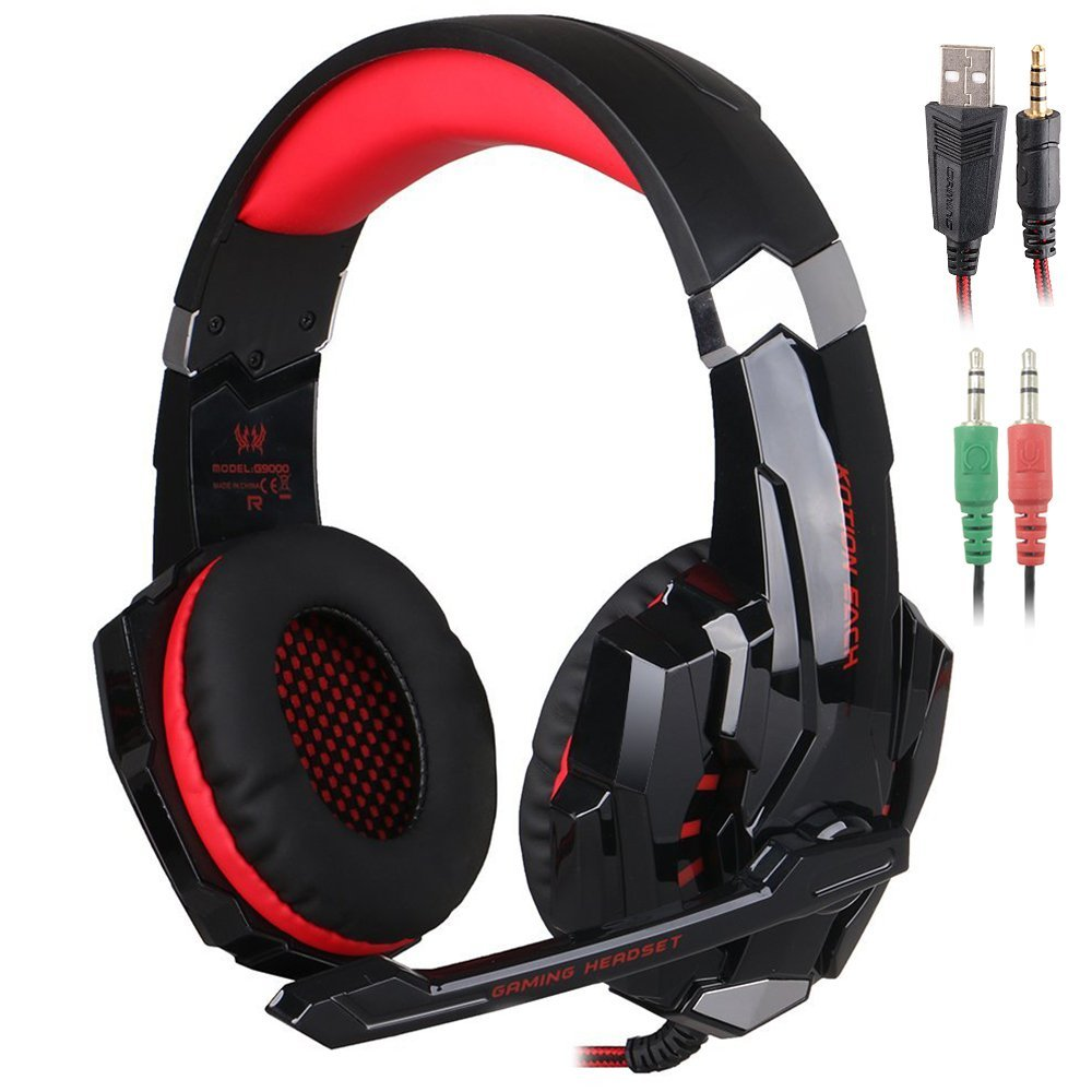 Kotion Each G9000 3.5mm Gaming Headphone with LED Lights Microphone - for PC PS4 Mac etc. (Red) | Monthly Madness