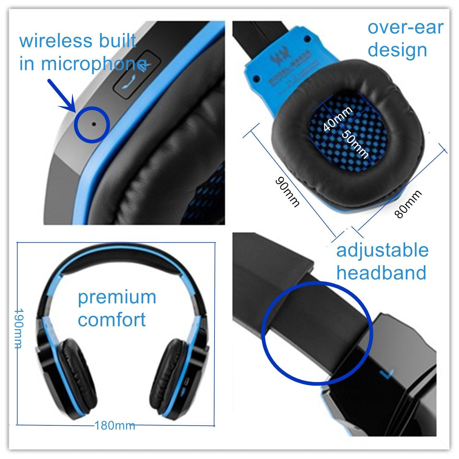Kotion B3505 Bluetooth Gaming Headphones - Blue | Monthly Madness