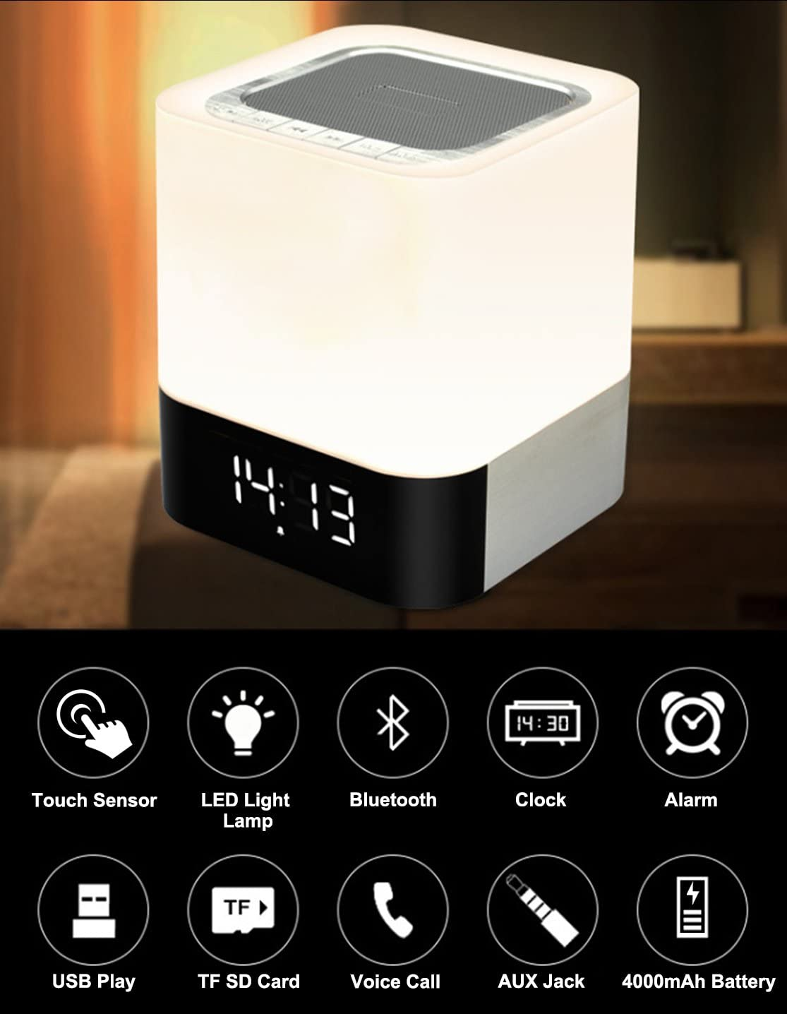 Musky RGB Bedside Lamp and Bluetooth Speaker