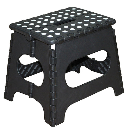 Folding Plastic Step Ladder Stool - Black