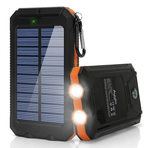 Lumina Solar Power Bank with Dual USB Charger & LED Light