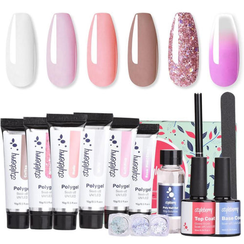 Styleberry Polygel Nail Extension Kit with Tips with 168W LED Lamp