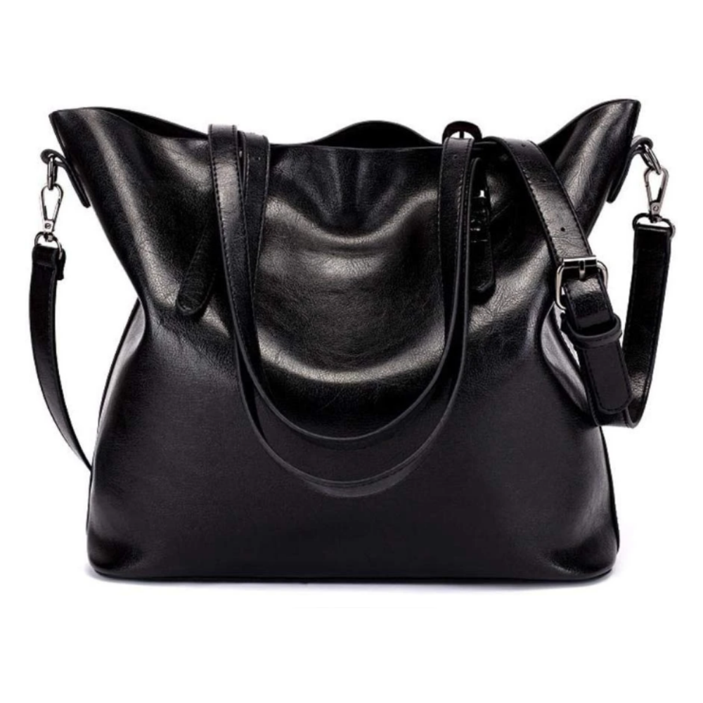 PU Leather Women's Tote Shoulder Bag - Black | Monthly Madness