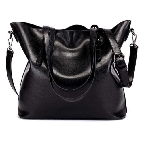 PU Leather Women's Tote Shoulder Bag - Black