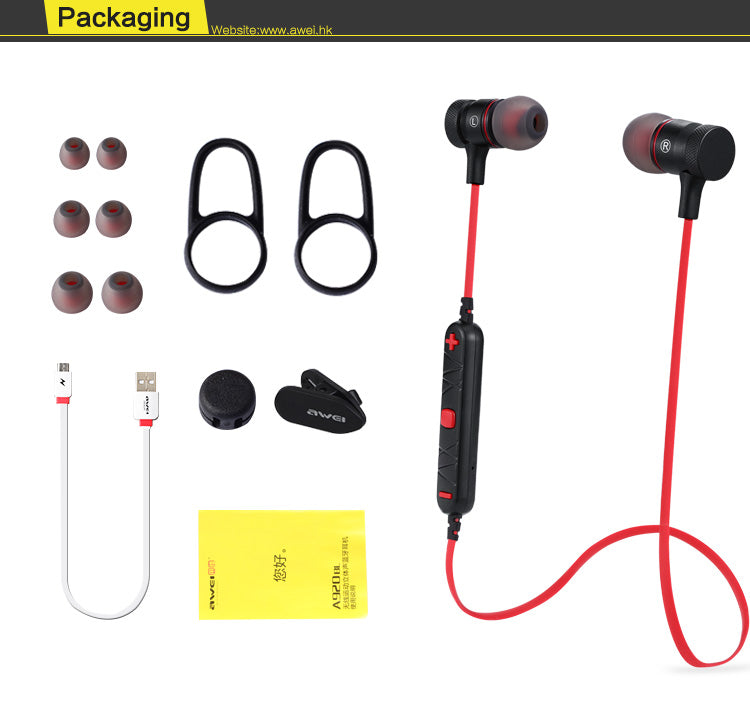 Awei A920 BL Magnetic Wireless Bluetooth Earphones - Black | Monthly Madness