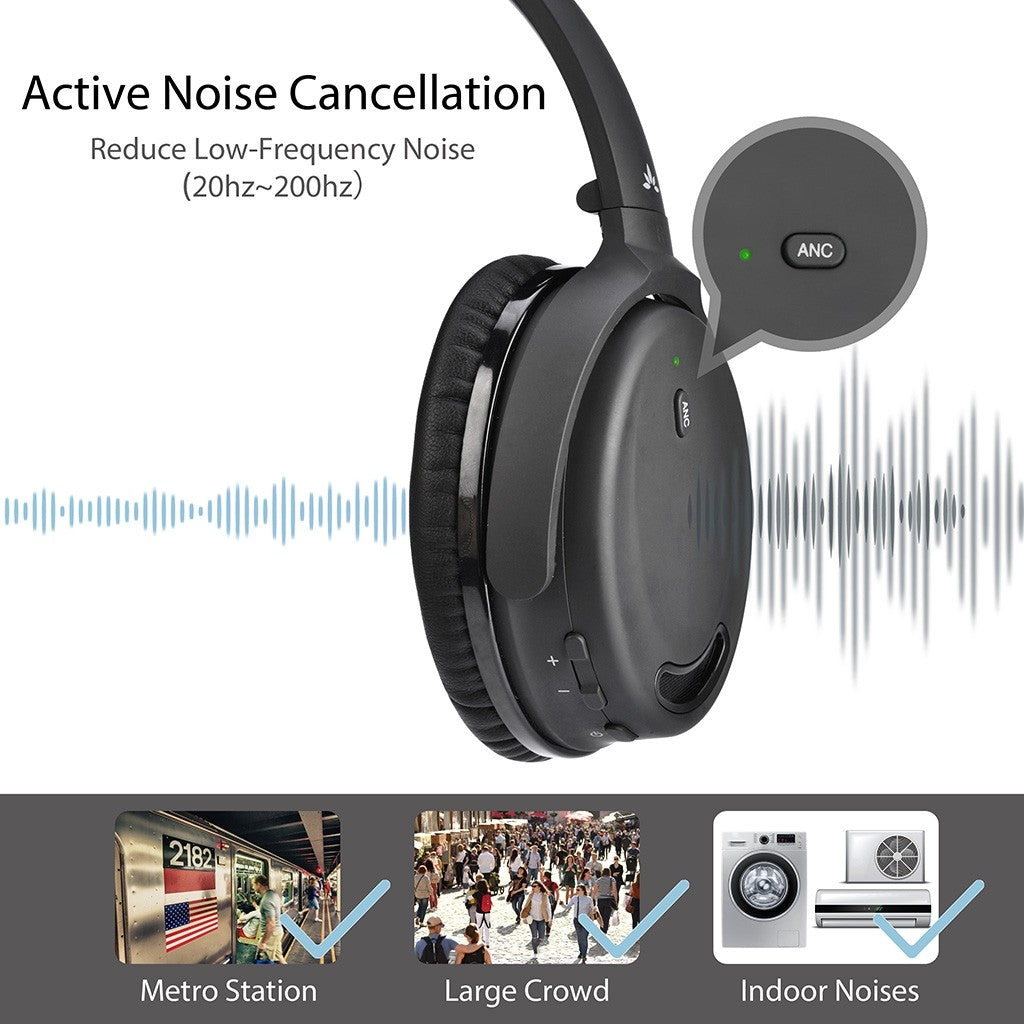 Avantree ANC032 Active Noise Cancelling Bluetooth Headset - Black | Monthly Madness