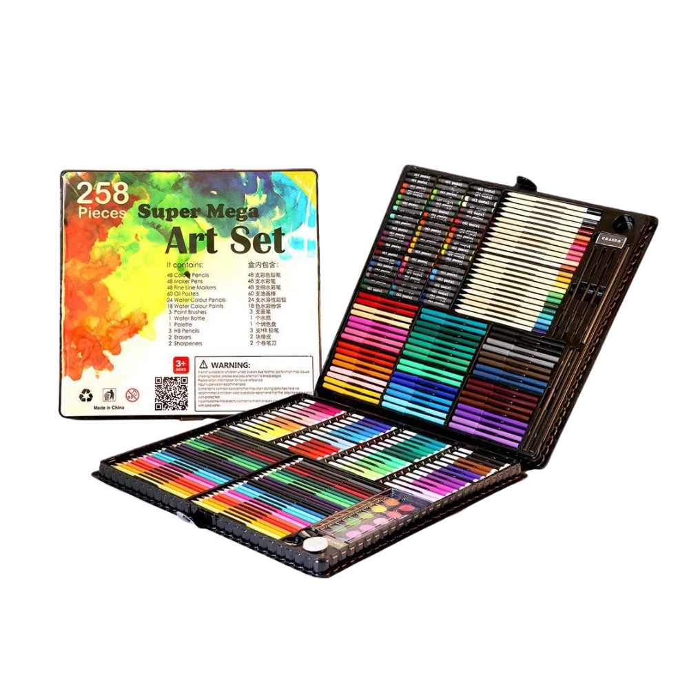 258 Piece Childrens Art Set Carry Case