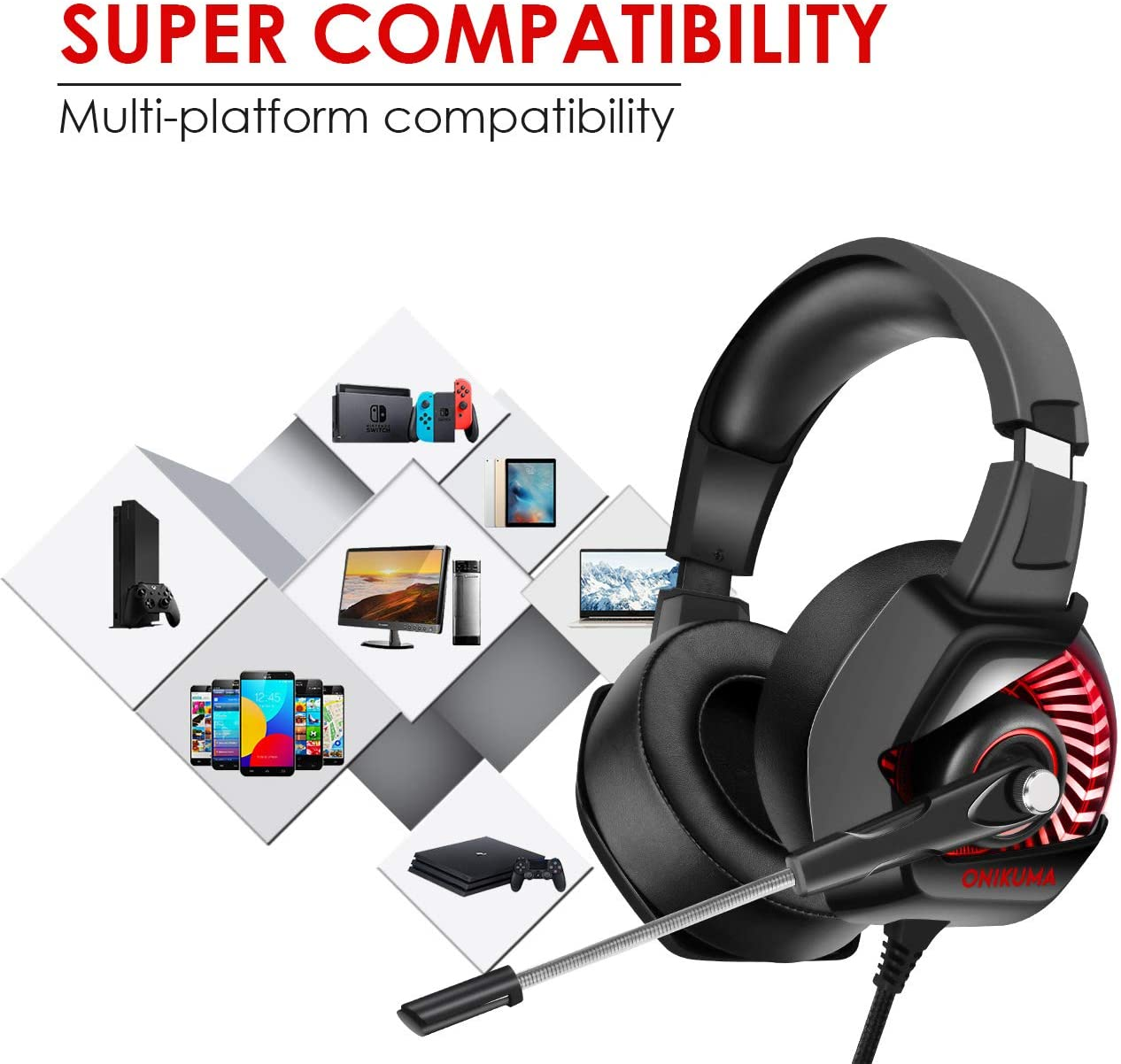 Onikuma K6 Wired LED Gaming Headphones With Microphone For PS4 Xbox PC | Monthly Madness
