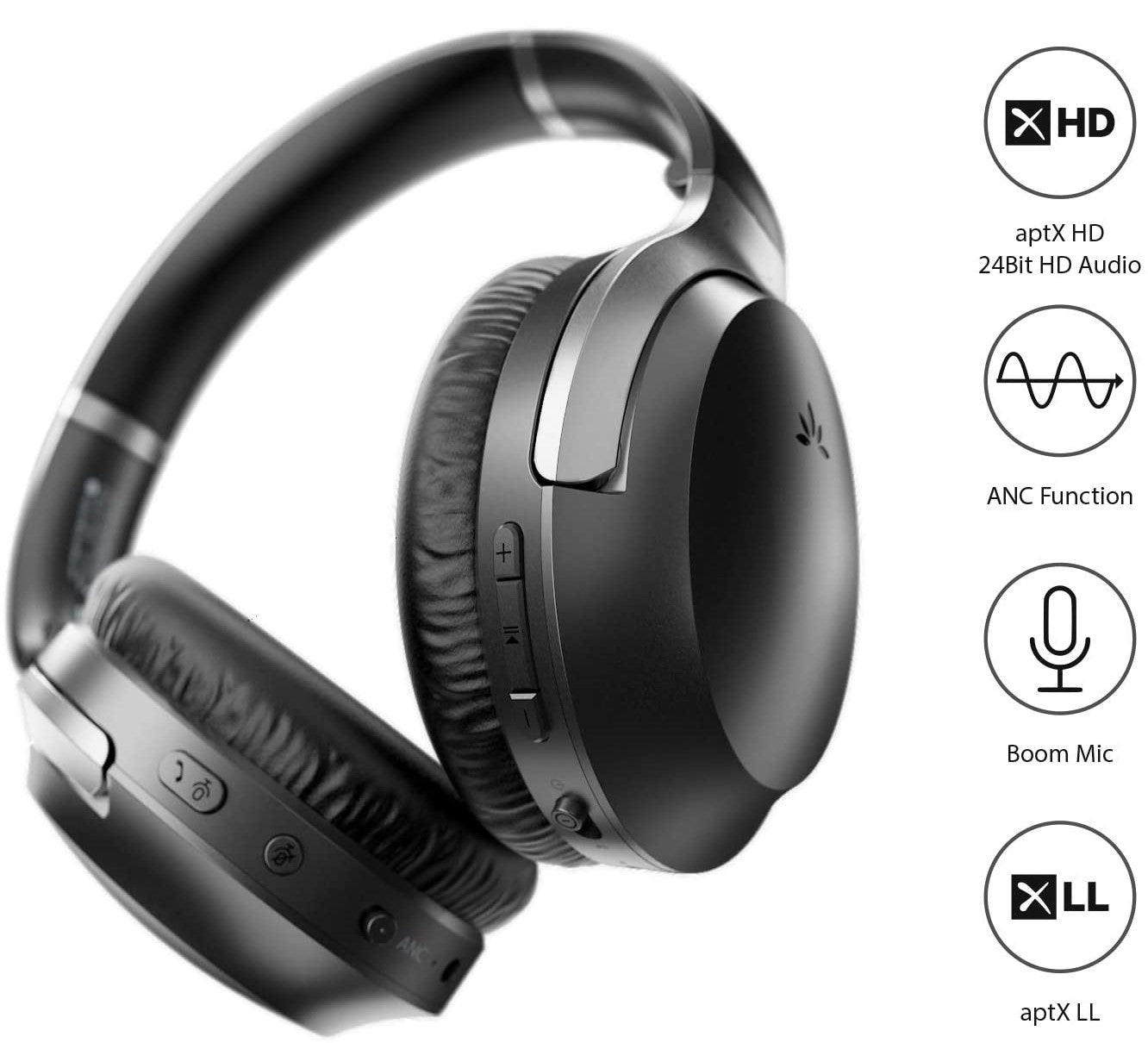 Avantree Aria PRO Bluetooth Headphones with Active Noise Cancelling & Detachable Boom Microphone