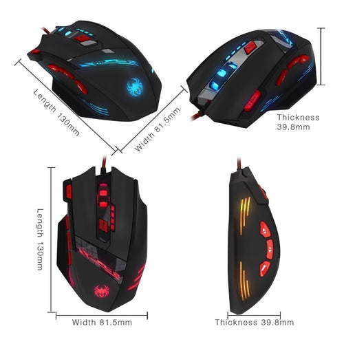 Zelotes T90 8000 DPI 8 Button Multi Colour USB Wired Gaming Mouse