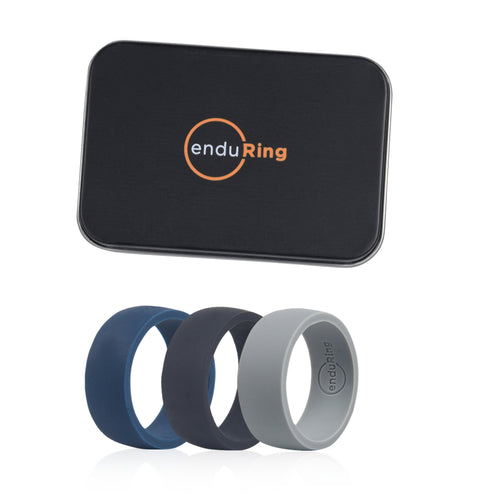 Enduring Basic Silicone Wedding Ring Set of 3