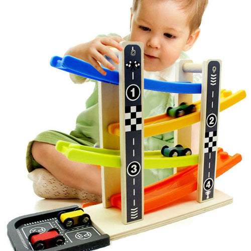 XBL 4 Rail Glider Wooden Racing Track with Cars