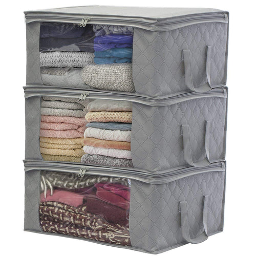 HomeFX Foldable Storage Bag Organizers - 3 Piece