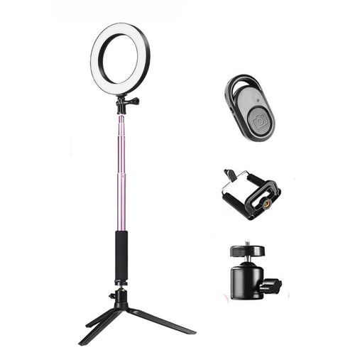 BeautyFX 20cm LED Selfie Ring Light with Adjustable Brightness and Remote Control