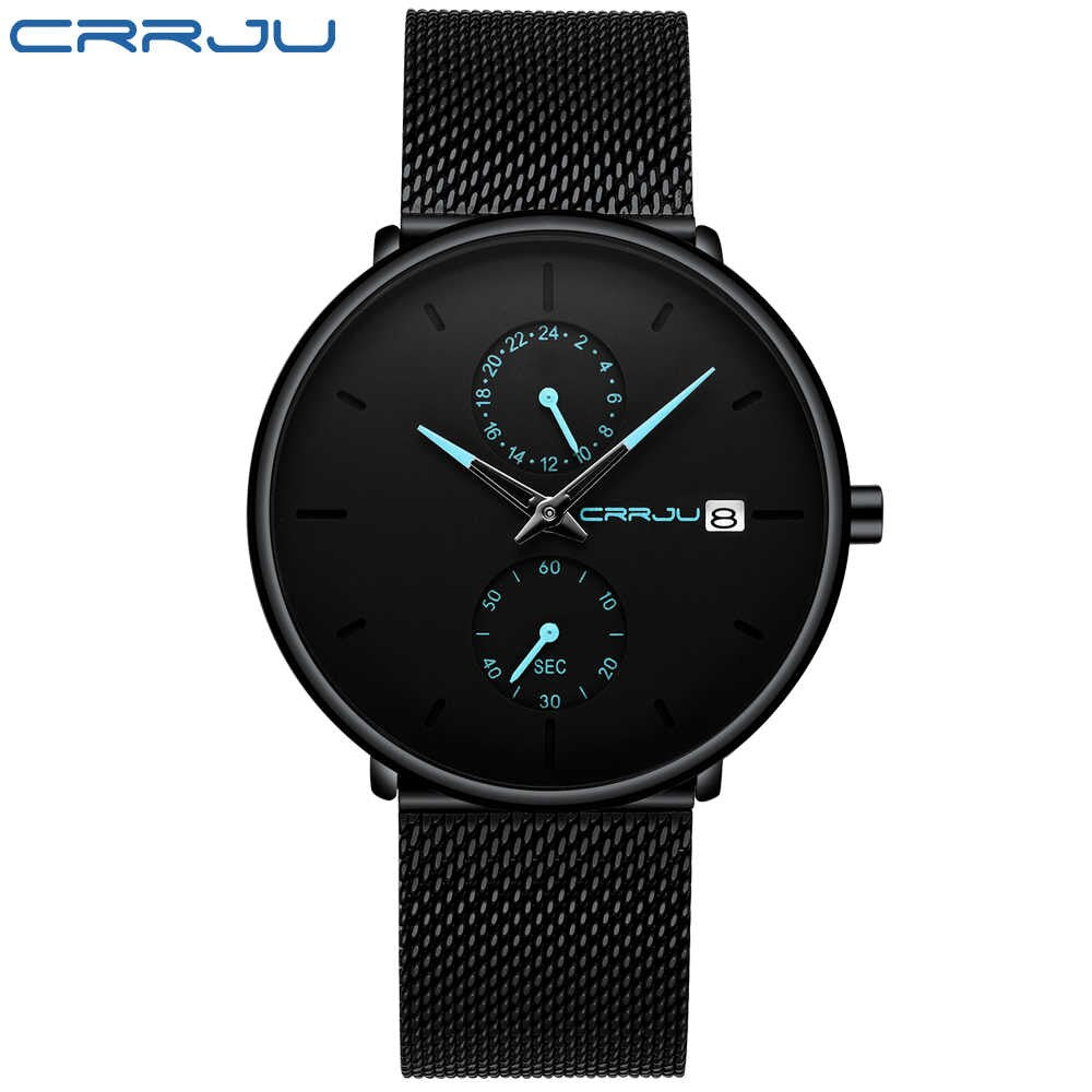 CRRJU 2265 Mens Minimalist Dual Dial Milanese Mesh Watch | Monthly Madness