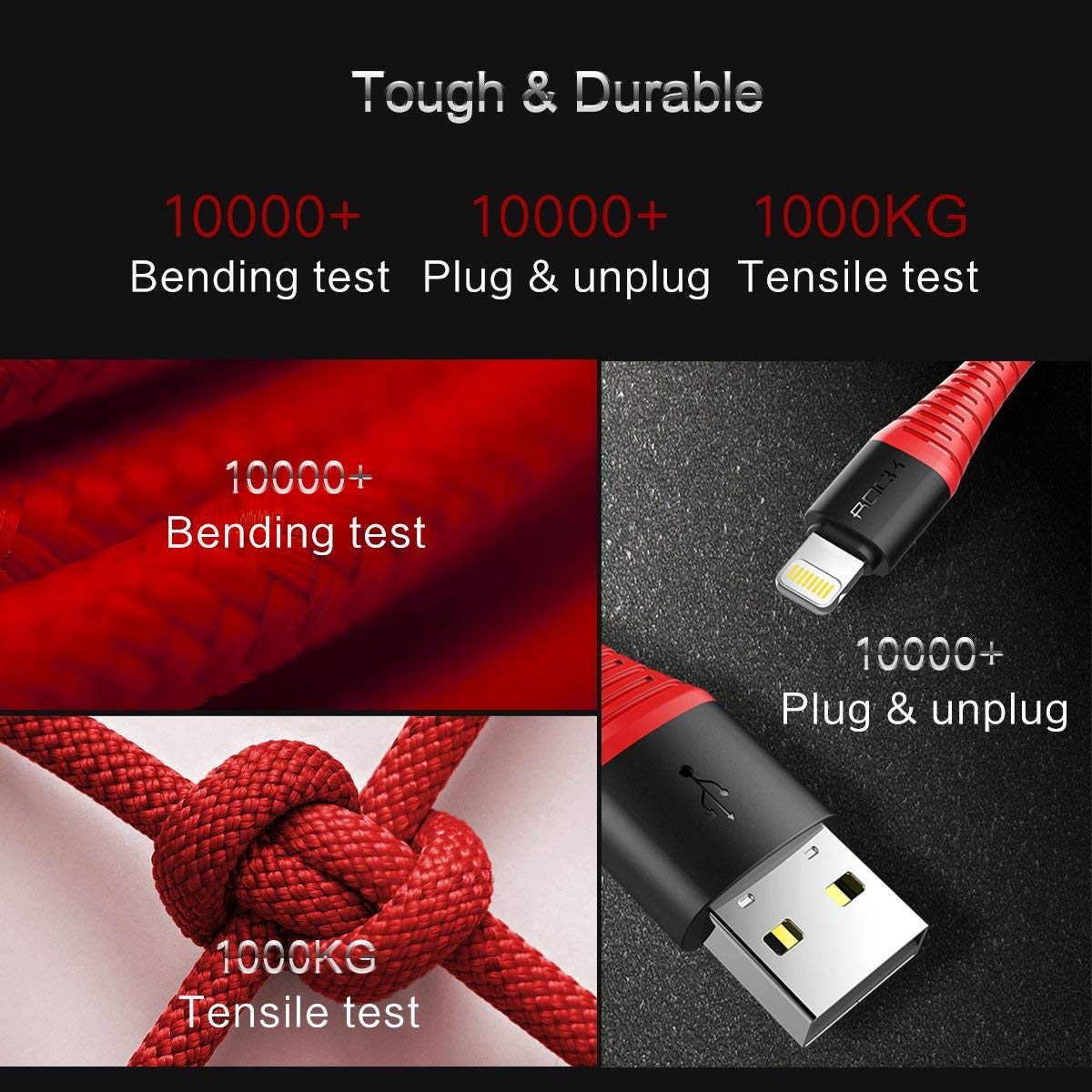 Rock 1.2m Nylon Braided iPhone Lightning to USB Cable - Red | Monthly Madness