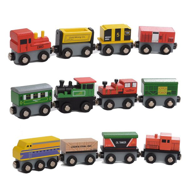 Wooden Magnetic Toy Train and Car 12 Set | Monthly Madness