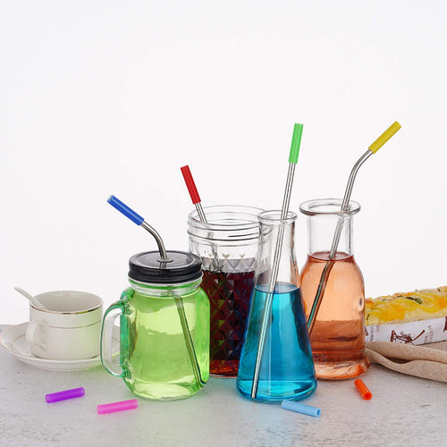 KitchenFx Stainless Steel 16 piece Reusable Straw Set