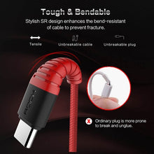 Load image into Gallery viewer, Rock 1.2m Nylon Braided Type C to USB Cable - Red | Monthly Madness