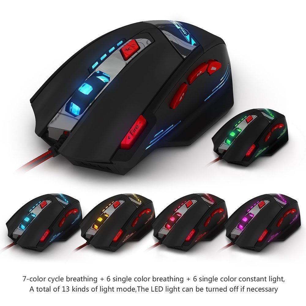 Zelotes T90 8000 DPI 8 Button Multi Colour USB Wired Gaming Mouse | Monthly Madness