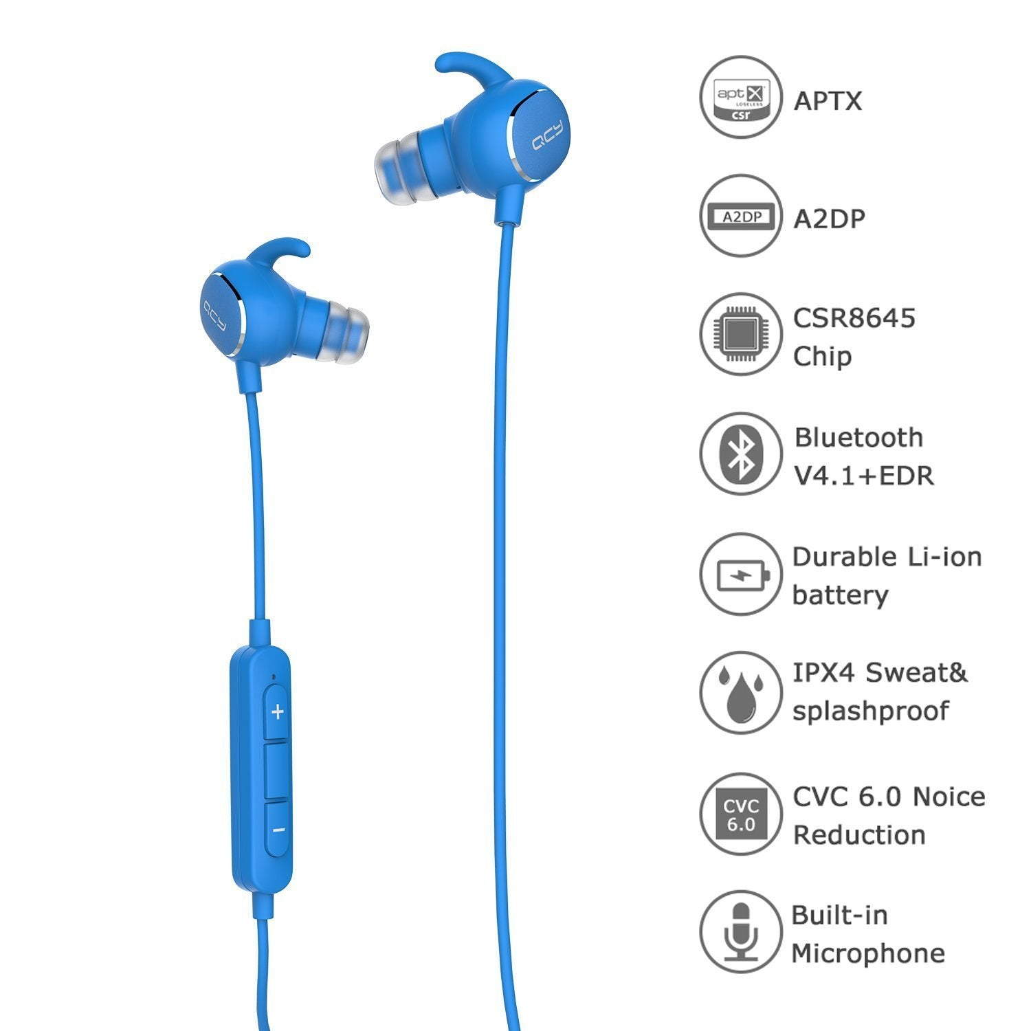 QCY QY19 Wireless Bluetooth In-Ear Stereo Headphone With Mic - Black | Monthly Madness