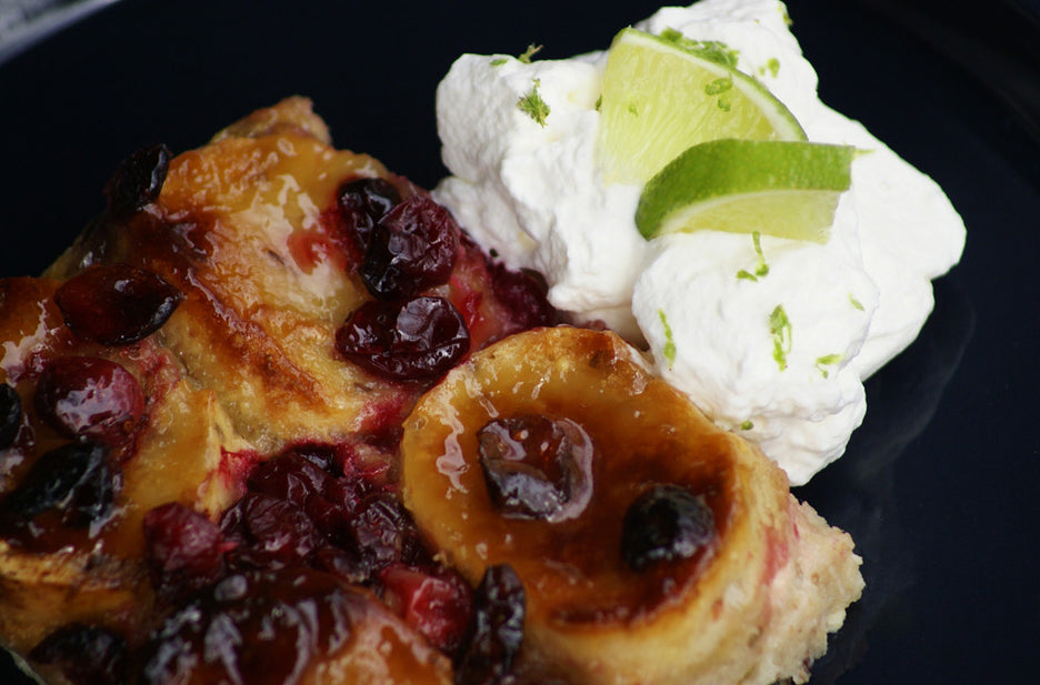Cranberry Lime Curd Bread Pudding