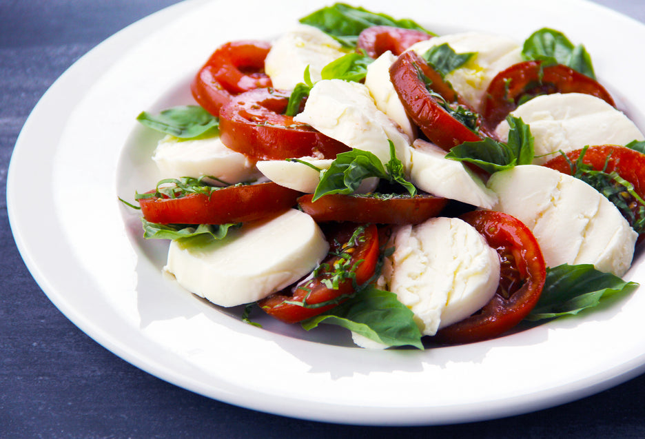 Fresh Mozzarella, Kumato & Garlic Scape Salad