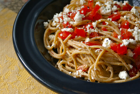 Pasta with Olive Tapenade, Feta and Tomato