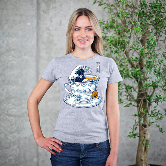 The Great Kanagawa Tea Grey T-Shirt
