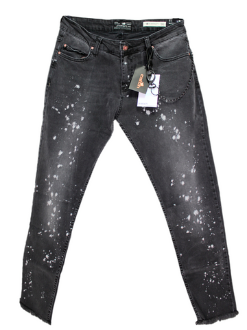 Raw Edge Black Jeans with White Prints - LIMITED EDITION