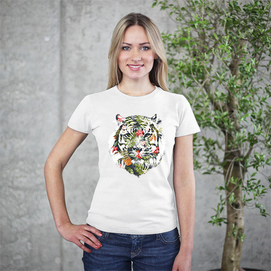 Tropical Tiger White T-Shirt