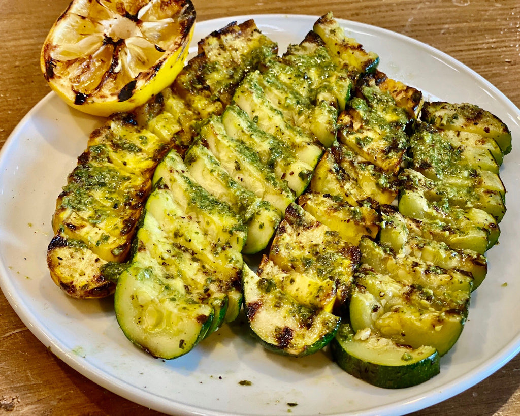 Grilled Zucchini Squash with Pesto Butter