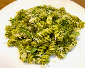 fusilli with garlicky kale pesto and pesto butter