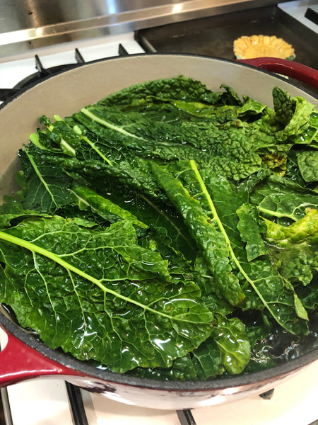 blanched kale with churn pesto butter